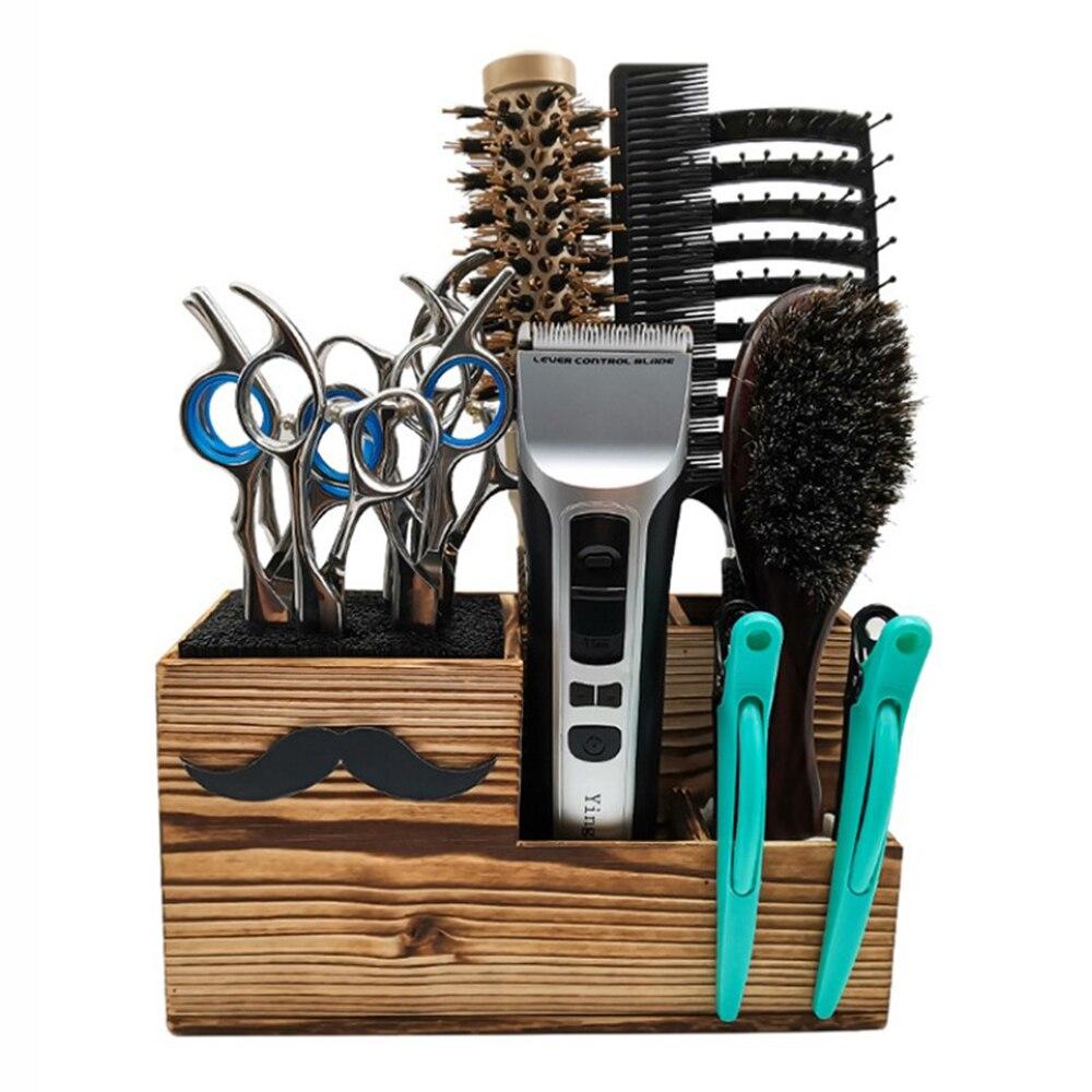 Ferramenta de Cabeleireiro Caixa de Madeira Titular Tesoura Organizador Barbearia Estande Salão Estilo Escovas Armazenamento Cremalheiras Multifuncional