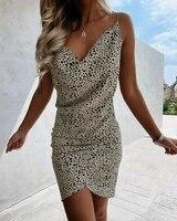 summer cowl neck spaghetti strap all over print mini dress 2021 elegant femme light sukienka office casual sundresses traf