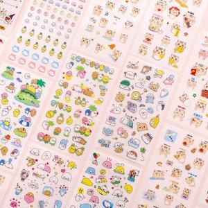 Mohamm 6 Pcs/pack Kawaii Cartoon Animal Cat Bear Small Korea Sticker Flakes Stationary Office Accessories School Supplies