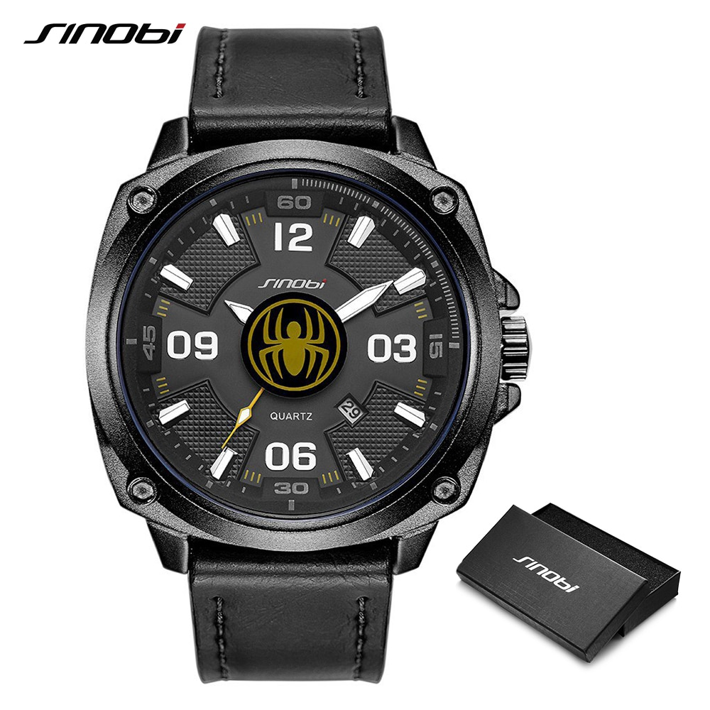 SINOBI Top Quality Creative Men's Watches Leather Luminous Big Dial Sports Quartz Wristwatch Smart Waterproof Male Clock Relogio