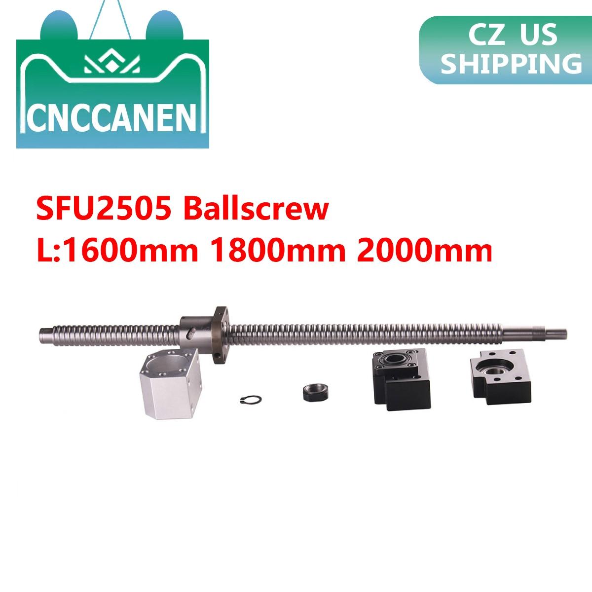 SFU2505 Ballscrew نهاية تشكيله مع الجوز طول 1600 مللي متر 1800 2000 مللي متر و BK/BF20 دعم و DSG25H الجوز الإسكان CNC راوتر تشكيله