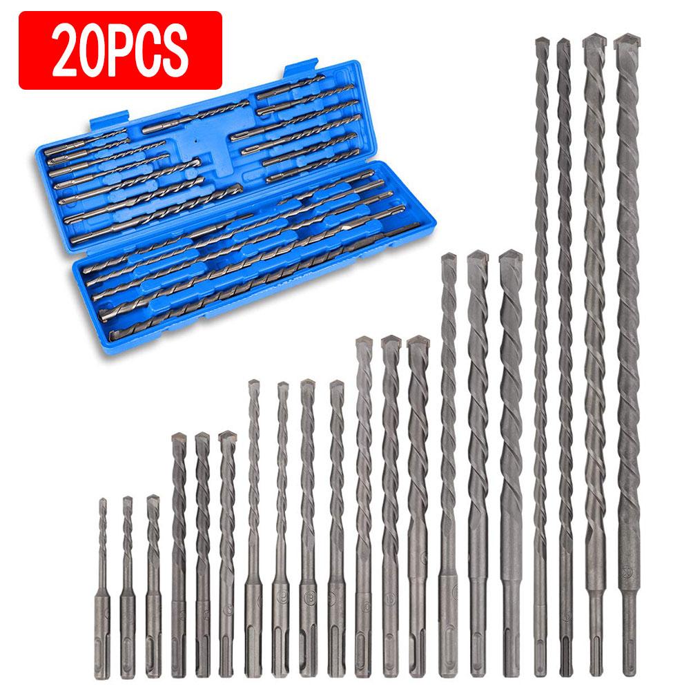 20PCS Hammer Drill Bits Carbide Tip Masonry Tools for Concrete Ceramic Tiles Stone Metal Plastic 11/16/21/26/45cm