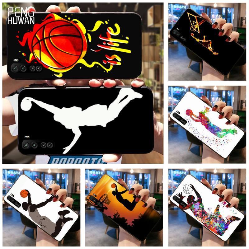 PENGHUWAN Sport Basketball Black TPU Soft Phone Case For Huawei Nova 6se 7 7pro 7se honor 7A 8A 7C P