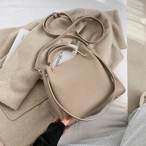 Retro Shoulder Bag 2020 Winter New Handbag Pure Color PU Ladies Bag Casual Messenger Bag Daily Shopping Bag Big Bag