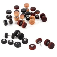 vintage punk double sided wooden jewelry natural wood earring dumbbell ear stud wood mens and girls dumbbell stud earrings