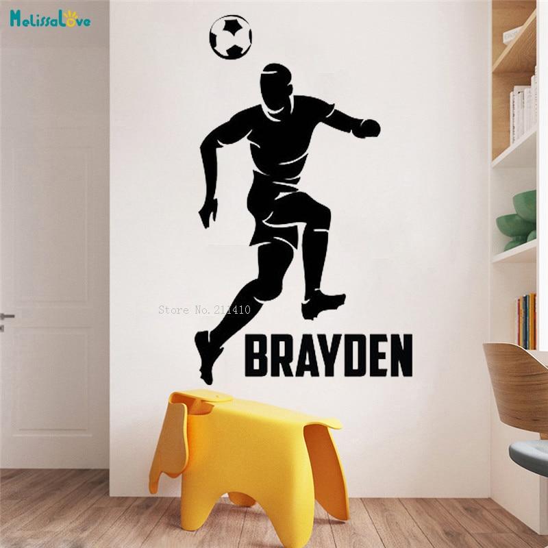 Custom Name Boys Soccer Header Wall Sticker Home Decoration Sports Decals Removable Art Design Fielder Vinyl Poster YT1183