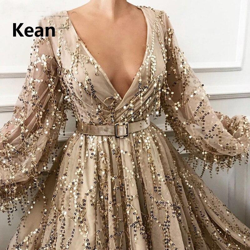 Купить с кэшбэком Gold Muslim Evening Dress Bling Lace Full Sleeve Lantern Slit Illusion Islamic Dubai Kaftan Saudi Arabic Evening Boho Prom Dress