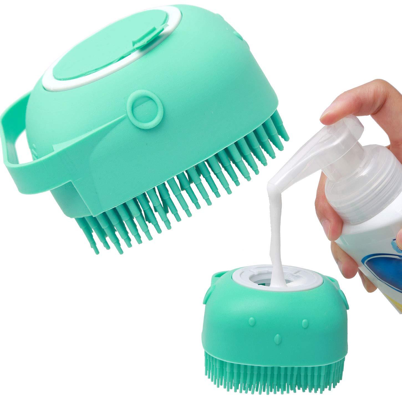 Четка за шампоан за домашни кучета 2.7oz / 80ml Гребен за коса за масаж на котки за почистване на четка за къпане на къса коса меки силиконови гумени четки