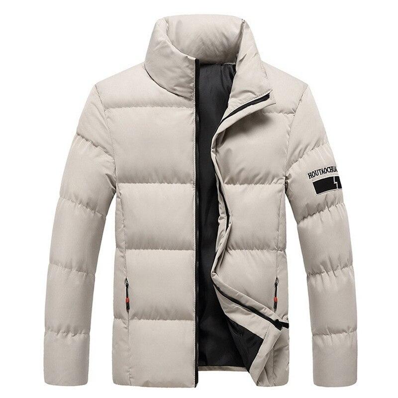 2020 men downjacket gola outono inverno roupas masculinas quente downcoat zip up outerwear moda sólida