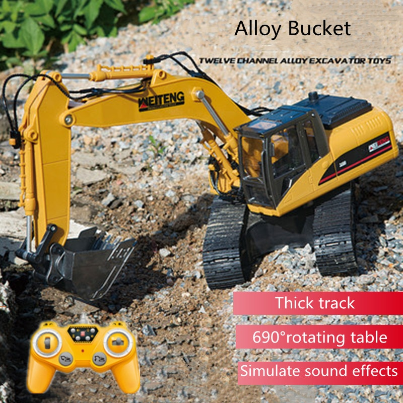 Outdoor Sports Remote Control Excavator 2.4G 1:20 40Mins Thick Track 690 Degree Rotating Alloy Material Sound Effects RC Truck
