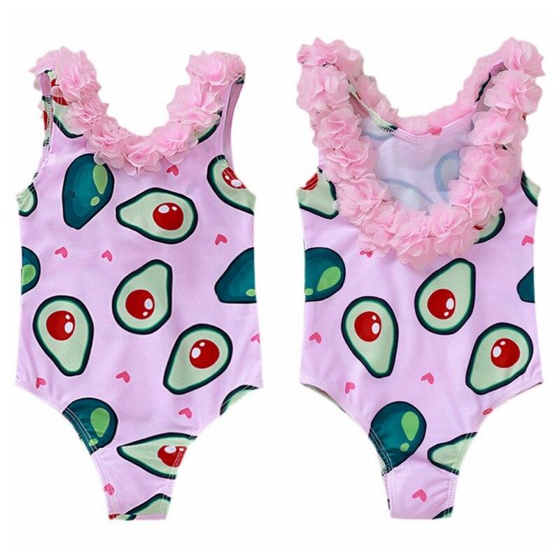 Traje de baño sin mangas con estampado de aguacate y pétalo para bebés y niñas