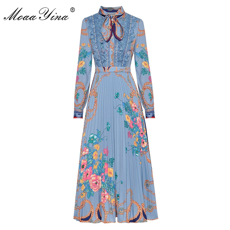 MoaaYina Fashion Designer dress Spring Autumn Women's Dress Long sleeve Bow collar Lace Pearl Print Vintage Dresses moaayina fashion designer runway dress spring summer women dress lace floral embroidery black elegant dresses