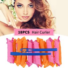 Hair Curlers Spiral Curls No Heat Wave Magic Hair Rollers 33cm with 1 Styling Hooks 18pcs/Set