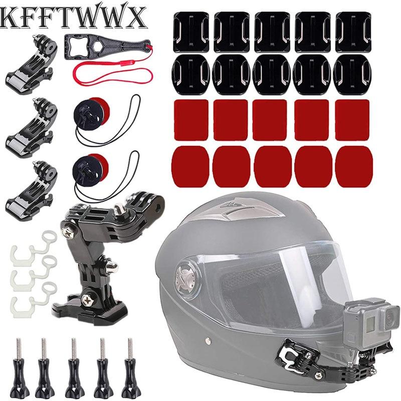 KFFTWWX اكسسوارات عدة ل GoPro بطل 9 8 7 أسود فضي أبيض 6 5 4 oomo دراجة نارية خوذة الذقن جبل ل الذهاب برو AKASO/Campark