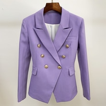HIGH QUALITY Newest 2021 Designer Blazer Women's Classic Lion Buttons Double Breasted Slim Fit Blaze