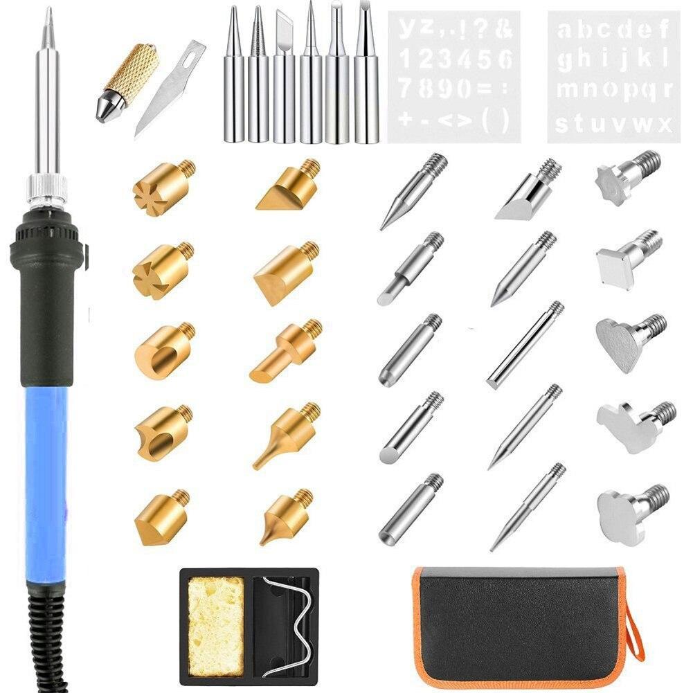37 pièces bois brûlant pyrogravure stylo Kit outils soudure fer réglable température outil électrique stylet outils à main pour lindustrie
