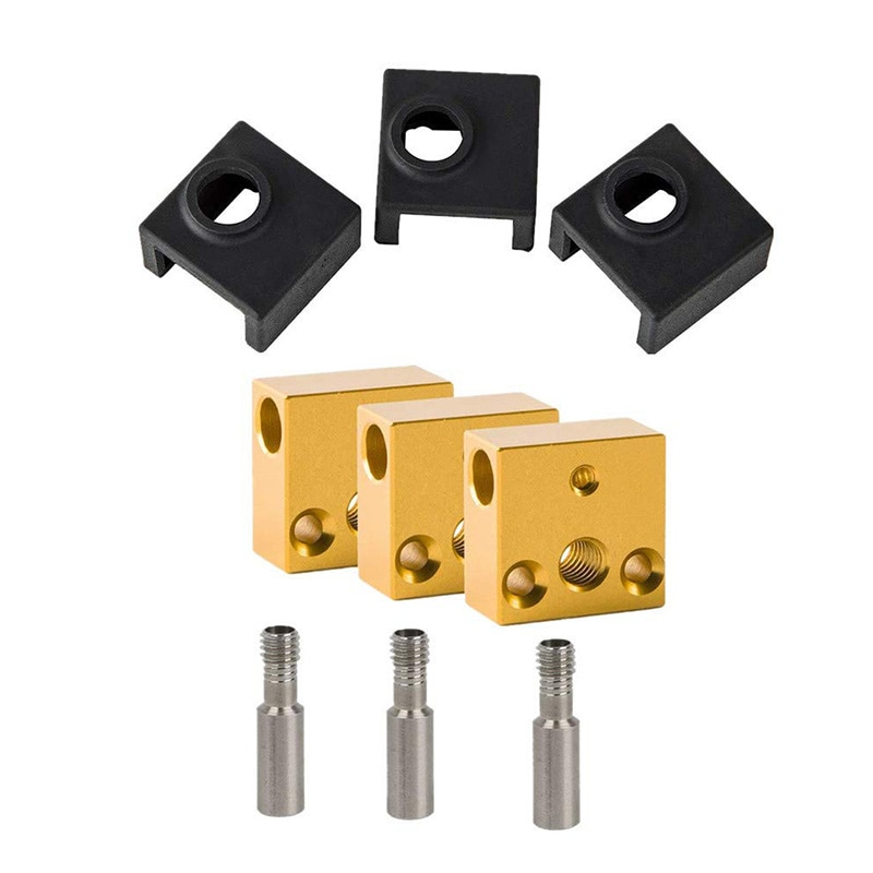 Calcetines de silicona para impresora 3D/bloque calentador de aluminio/Garganta de acero inoxidable para Kits de extrusora MK7 MK8 (3 paquetes)