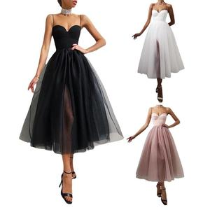 Summer Sexy Halter Off Shoulder Party Dress Women Elegant Spaghetti Strap Spliced Mesh Dresses Solid Color Tube Top Strap Dress