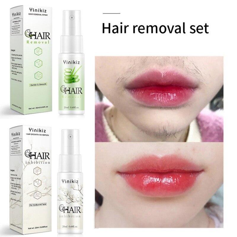 Spray de inhibición del crecimiento del cabello crema de depilación permanente Facial sin dolor barba piernas axila reparación suave Spray de piel caliente