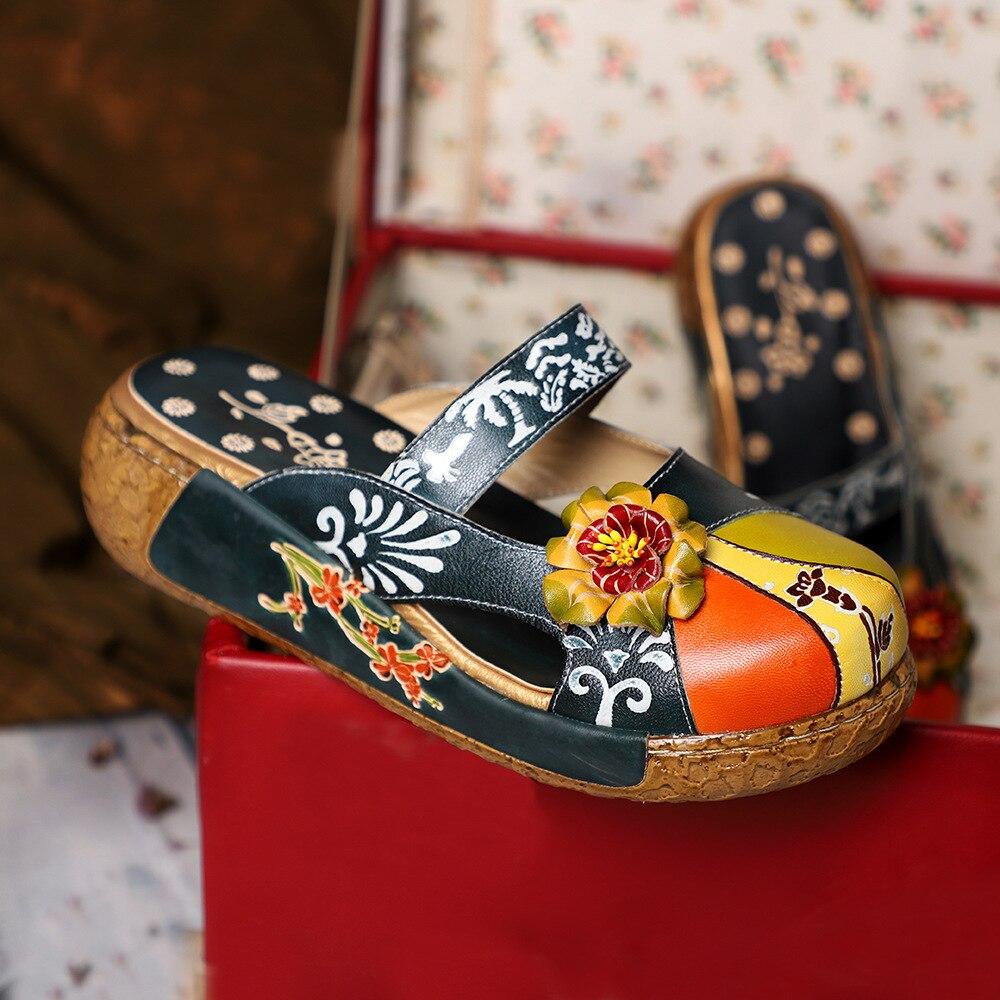 صندل جلدي نسائي مطبوع يدويًا ، حذاء مسطح ريترو ، شبشب جلدي مريح