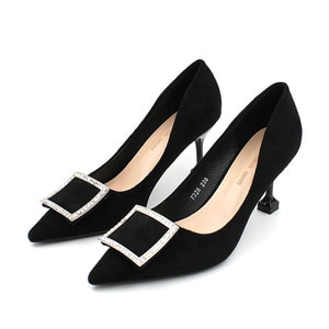 New Fashion Suede Rhinestone Trim Square Button Luxurious High Heel Pumps Women's Pointed Toe Stilettos Party Office Basic Shoes