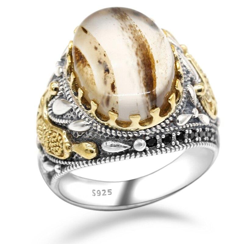 Quente 925 prata esterlina anel turco jóias oceano onys pedra anel transparente preto masculino alta jóias