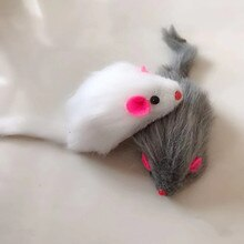 New False Mouse Cat Pet Toys Long-haired Tail Mice With Sound Rattling Soft Real Rabbit Fur Sound Sq
