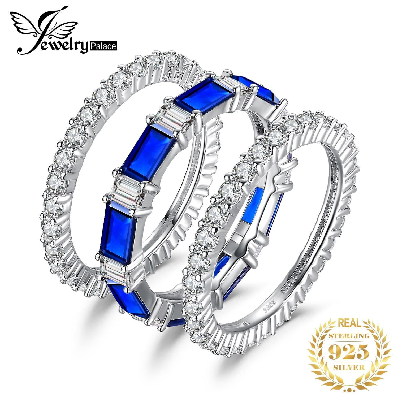 JewelryPalace Eternity 7ct создан синий шпинель себе кольцо канала наборы для ухода за кожей 925 пробы серебро для женщин как подарки Новы