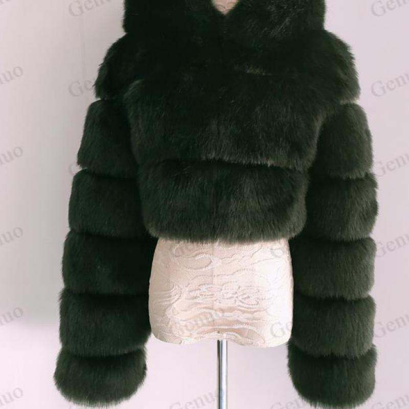 Fashion Cropped Fur Top Women Faux Fox Fur Coat Plus Size Turn Down Fur Collar Winter Coat Women Fluffy Fur Jacket