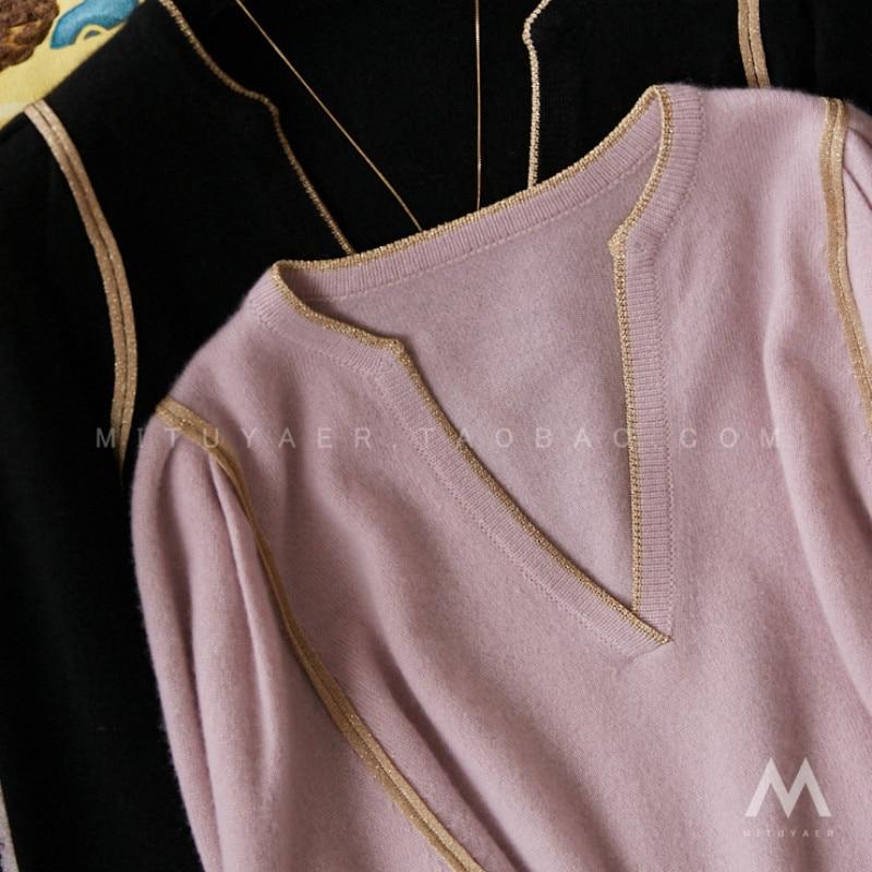 High-quality Sweater Women Spring and Autumn Gold Silk Inlaid Scissor Collar Lantern Bat Drawstring Sleeve Sweater enlarge