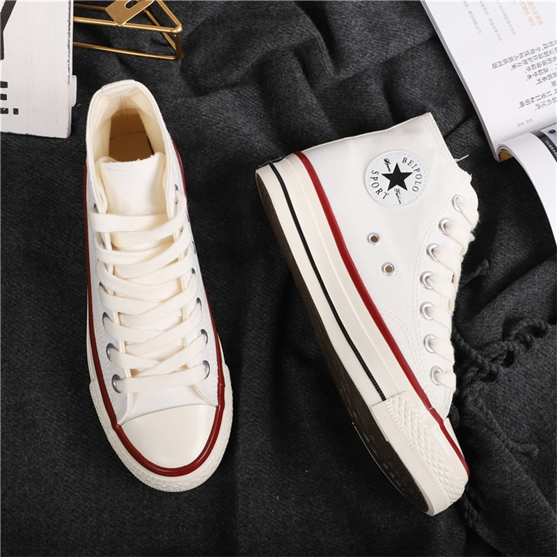 Classical Canvas Shoes Women High Top Vulcanize Shoes Breathable Flat Casual Ladies Sneakers Lace Up Female Shoes Zapatillas