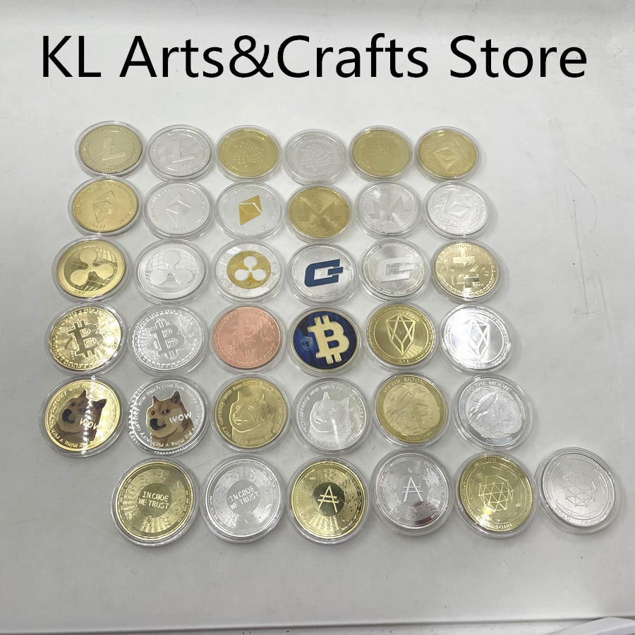1pc Gold or Silver Plated Bitcoin Coin BTC Litecoin Ripple Cryptocurrency Metal Commemoration Coin us challenge coin недорого
