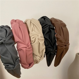 New Pleated Headband PU leather Turban for Women Wide Size Solid Color Hairbands Girls Accessories Hair Hoop Hair Jewelry