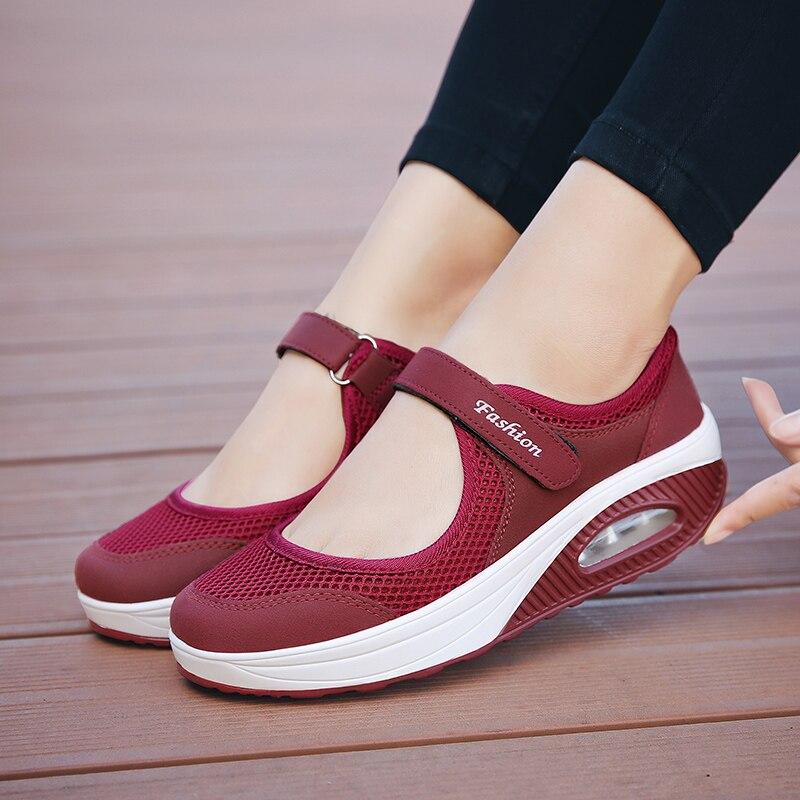 Женская прогулочная обувь; Лидер продаж 2020 года; Обувь из сетчатого материала для бега; Модные кроссовки на платформе с воздушной подушкой; ...