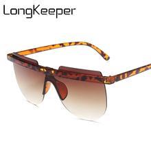 Gafas de sol planas de gran tamaño para mujer, gafas de sol redondas sin montura de lujo para mujer, gafas de sol Vintage de leopardo, UV400