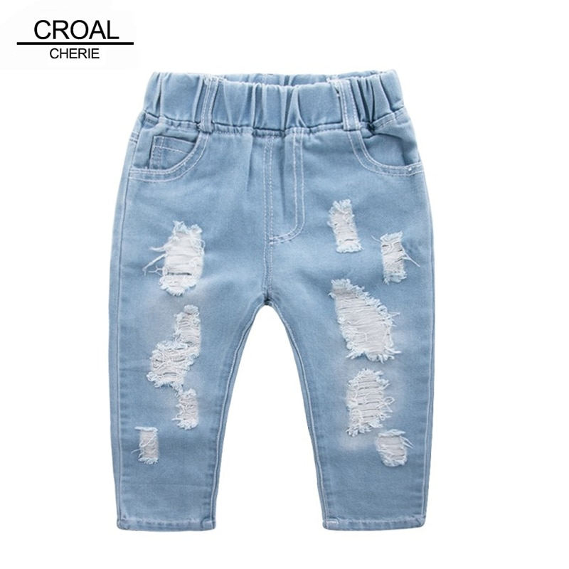 CROAL CHERIE Fashion Children Ripped Jeans Kids Boys Jeans Girls Jeans Denim Pants For Teenagers Boys Toddler Jeans Kids Clothes
