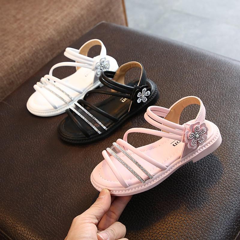 New Girls Sandals Summer Kids Shoes Beach Sweet Princess Sandals Soft Flower Girls Shoes For Wedding Children Sandals Non-slip