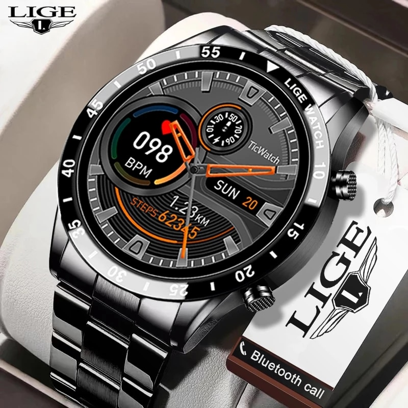 LIGE 2021 العلامة التجارية الجديدة الفاخرة رجالي ساعات سوار فولاذي اللياقة البدنية ساعة معدل ضربات القلب ضغط الدم نشاط المقتفي ساعة ذكية للرجال