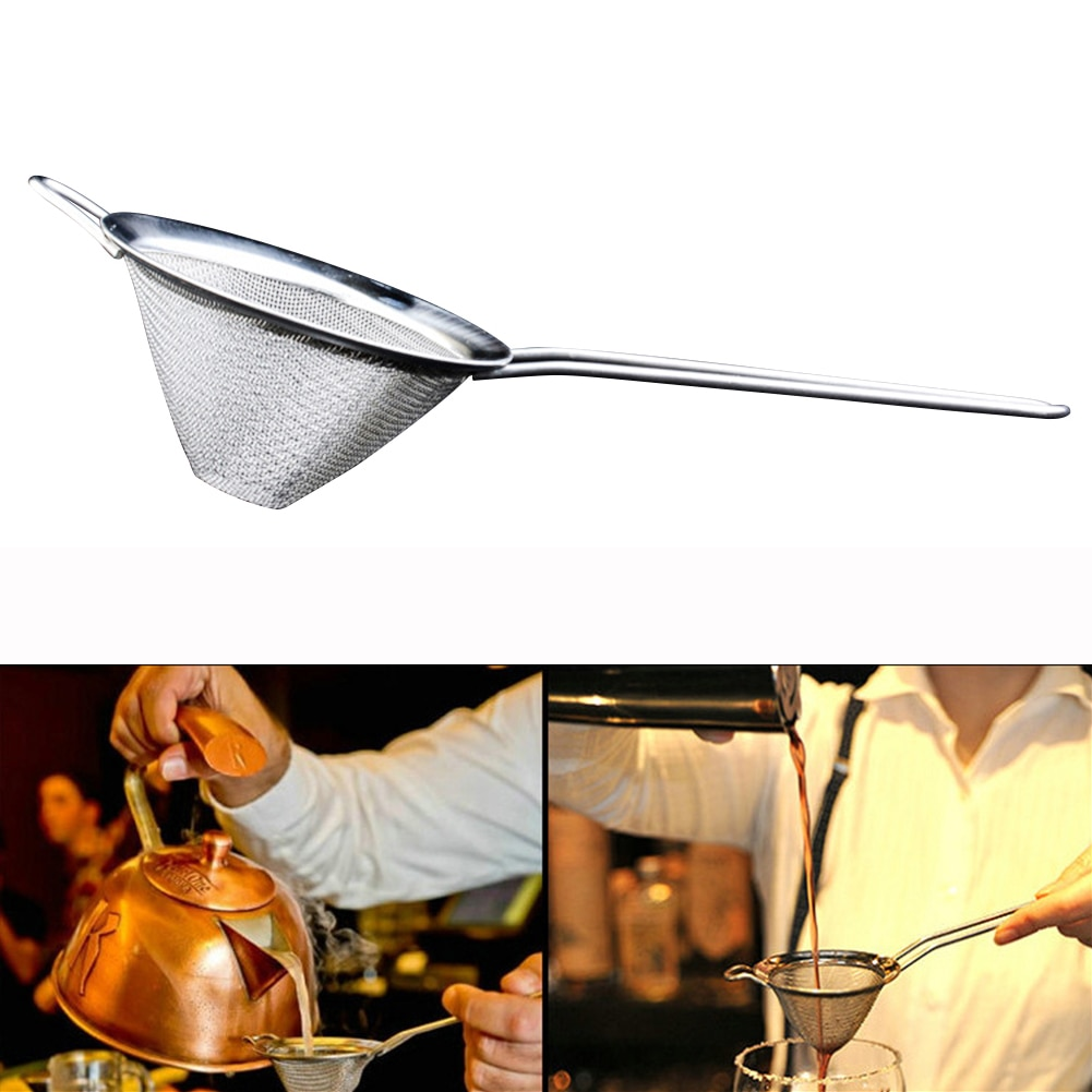Filtro cónico de cóctel de acero inoxidable alambre cónico filtro de aceite de malla fina tamiz de harina de alta calidad herramientas de cocina DIY