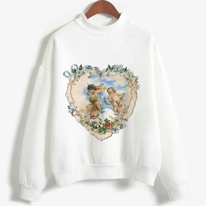 Women Sweatshirt Kpop Style Vogue Cute Angel Cupid Print Long Sleeve Top Pullover Casual Kawaii O Neck Harajuku Plus Size Hoodie