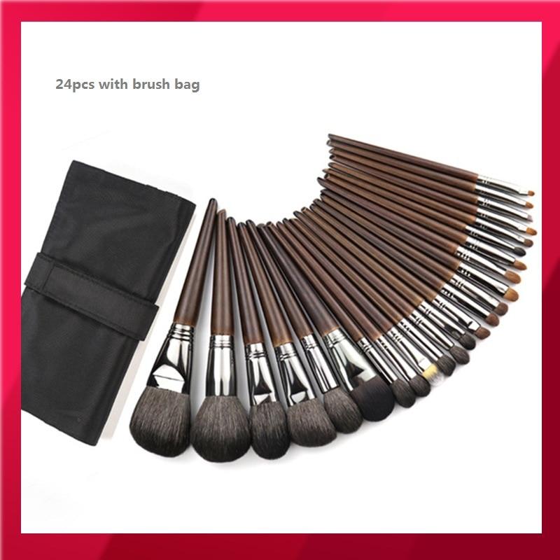 24PCS High End Animal Hair Makeup Brushes Set Complete Kit Cosmetics Eye Concealer Powder Blush Brush Makeup Artist Tool