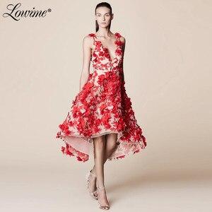 Red Flowers V Neck Party Dress High Low Prom Dresses Short Evening Gowns 2020 Red Carpet Celebrity Dresses Abendkleider