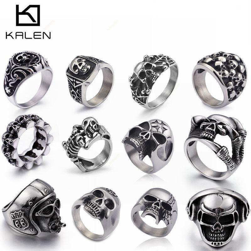 KALEN Stainless Steel Viking Skull Rings For Men US Size #8-12 Punk Biker Rings Wholesale Halloween Jewelry