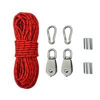 Crane Pulley Block M25 Lifting Crane Swivel Hook Single Hanging Wire Towing Wheel - 10M Nylon Rope