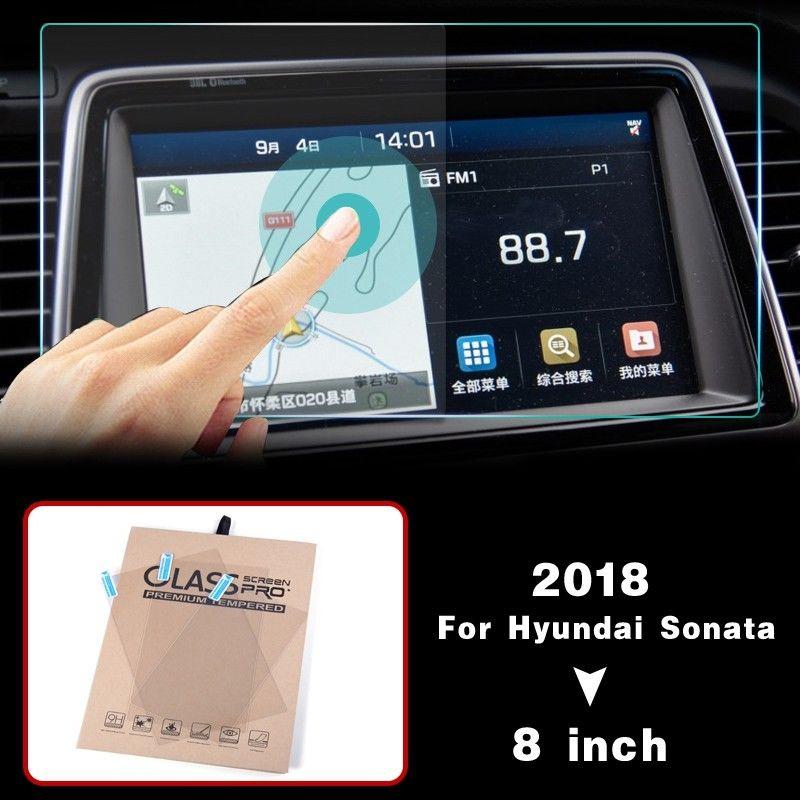 ¡Novedad de 2018! Película protectora de cristal HD para pantalla de navegación GPS de coche para Hyundai Sonata 2018 accesorios internos pegatinas de coche de 8 pulgadas