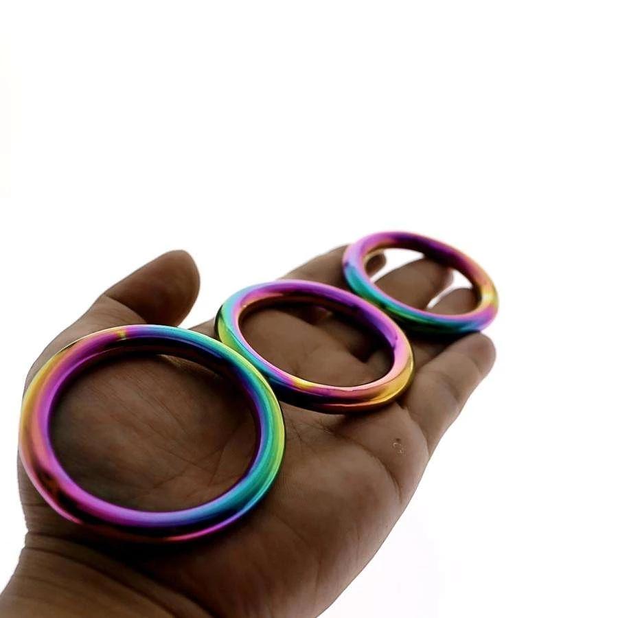 Regenbogen Cock ring glatte EICHEL RING Edelstahl Männlichen Sex Ring Stoppen Vorzeitige Ejakulation Erektion Schwanz Käfig