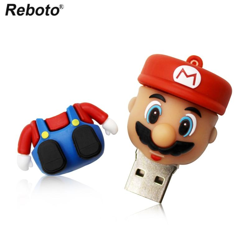 Cute USB Stick 32GB Super Mario Cartoon Bowser Pendrive 64GB Funny USB Flash Drive 16GB Memory Stick 8GB 4GB Pen Drive USB Flash