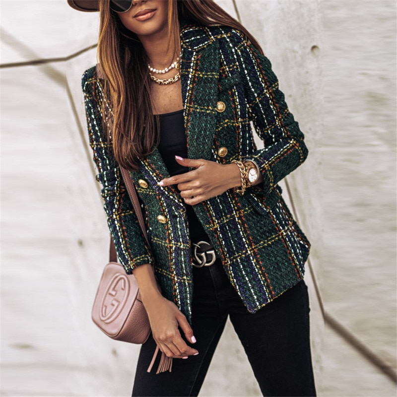 Onoti herbst winter plaid jacke frauen büro damen blazer tweed mantel chaqueta cuadros mujer 2020 mode damen tops vetement