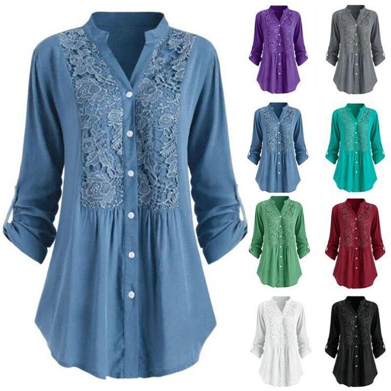 Однотонная кружевная рубашка с v-образным вырезом для женщин 2020 весенние повседневные рубашки с длинным рукавом на пуговицах S-5XL размера плюс топы белый черный синий туника