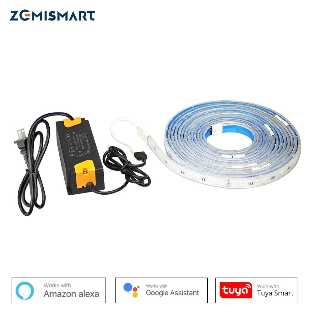 Zemimart RGBW WiFi LED bande lumineuse fonctionne avec Alexa Echo Google accueil minuterie commande vocale musique synchronisation bandes d'éclairage
